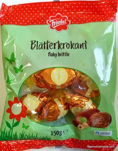 "Enjoy the ""Friedel Blätterkrokant Eier"" easter eggs from whole milk chocolate filled with delicious hazelnut brittle.Store cool and dry. Milka Chocolate, Chocolate Filling, Easter Chocolate, Easter Candy, Easter Eggs, Vegan Recipes, Snack Recipes, Snacks, Bread Dumplings"