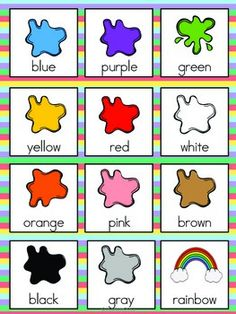 Color Vocabulary Cards by The Tutu Teacher Learning English For Kids, English Lessons For Kids, English Worksheets For Kids, Kids English, Learn English Words, English Class, Preschool Learning Activities, Preschool Worksheets, Teaching Kids