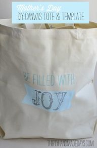 Mothers Day DIY Canvas Tote  Template on Thirty Handmade Days.