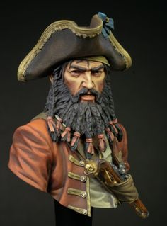 It is Blackbeard, This is a Young Miniature Bust of the famous pirate. Painted with Vallejo Acrylics. Pirate Art, Pirate Life, Pirate Ships, Robin Robinson, Famous Pirates, Tales Of Berseria, Walking The Plank, North Carolina Homes, Treasure Island