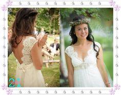 Lace Backless Wedding DressA line Cap Sleeve Wedding by 214EVER