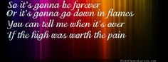 """""""So it's gonna be forever, or it's gonna go down in flames. You can tell me when it's over if the high was worth the pain..."""" ♥  Taylor Swift Lyrics Images Generator"""