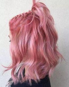 50 bold and subtle ways to wear pastel pink hair - Beliebt Frisuren - Belleza Hot Hair Colors, Hair Color Pink, Blonde Color, Blonde Brunette, Blonde Hair, Pink Hair Dye, Pastel Pink Hair, Rosy Pink, Curly Pink Hair