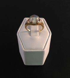 Unique 14k Yellow Gold Ring with Animated Snow Globe Stone (3.7 Grams Size 6) SOLD! Was Available at Gadgets and Gold in Gainesville, FL!