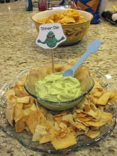The Ghost busters movie Night Party Slimer Dip Green food coloring and white…