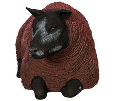 Fibreglass Sheep Model Texelaar Ewe Lying Brown  Dimensions : Length : 48cm, Width : 25cm, Height : 26cm, Weight : 2.8kg