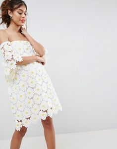 ASOS White Daisy Embroidered Bandeau Mini Dress