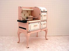 Dollhouse miniature Shabby cottage kitchen stove in by MiniAbuela