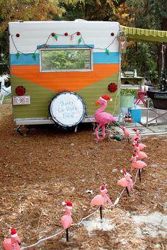 Flamingo pathway vintage trailer Victoria Mock by terrybone Little Trailer, Little Campers, Retro Campers, Happy Campers, Vintage Campers, Tiny Trailers, Camper Trailers, Shasta Camper, Vintage Caravans