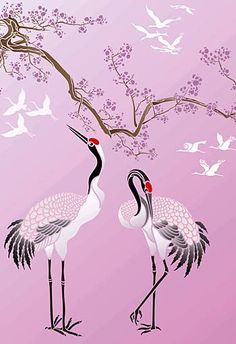 So the two birds with a C - which one actually has your ❤️? Japanese Drawings, Japanese Art, Japanese Painting, Chinese Painting, Silk Painting, Painting & Drawing, Bird Stencil, China Art, China China