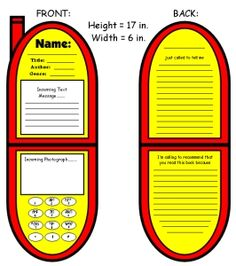 Cell Phone Book Report Projects: templates, worksheets, grading rubric, and bulletin board display banner.
