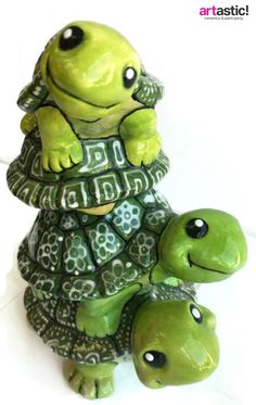 Stack of Turtle bank painted by Michael at Artastic!
