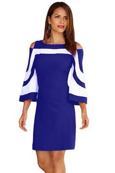 Royal Blue White Colorblock Dress