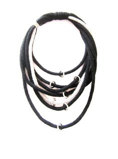 Black and Silver Tricot Necklace with Steel Ring by pinkdotsetc, €7.00