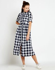 Shop Online Navy Check Printed Midi Shirt Dress in India at Best Prices ? Midi Shirt Dress, Check Printing, Shirtdress, Shop Now, Short Sleeve Dresses, Navy, Printed, Stuff To Buy, Shopping