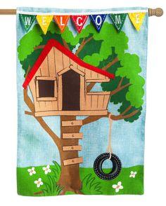 iamericas flags burlap treehouse welcome decorative house flag 3500 http - Decorative House Flags