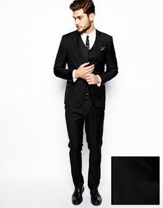 ASOS Slim Fit Suit in 100% Black Wool at asos.com