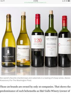 """Fave chardonnays and cabs in a  """"$10 or under"""" taste test by Washington Post journalist."""