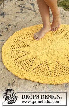 MES FAVORIS TRICOT-CROCHET: Modèle gratuit : Un tapis jaune citron au crochet