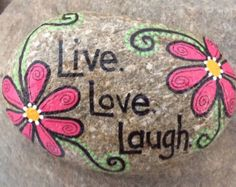 Happy Rock LOVE Hand-Painted River Rock by LynnsFunCreations