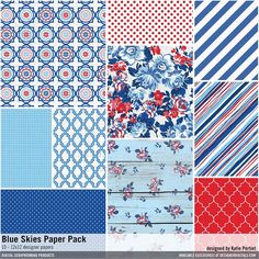 Blue Skies Paper Pack patterned papers in red, white & blue for patriotic and americana pages and card making #designerdigitals