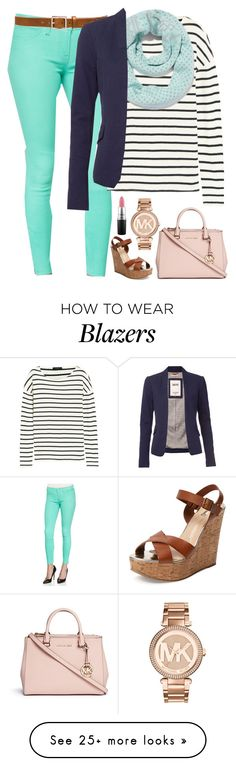"""Sail Away"" by evieleet on Polyvore featuring J Brand, J.Crew, rag & bone, New York & Company, Tommy Hilfiger, Schutz, Michael Kors and MAC Cosmetics"