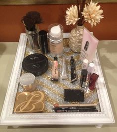 "homemade vanity tray sold on etsy! holds makeup, perfumes, brushes, etc. some even hang it on walls as a nice ""picture"" :) beautiful!"
