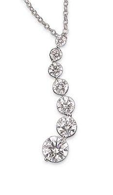Preferred Jeweler- Smyth Jewelers- 14kt white gold Journey Diamond Necklace, 1 ct. total weight