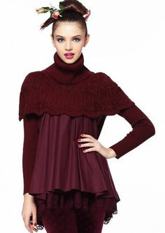 Red High Neck Contrast Knit Cape Organza Sweater