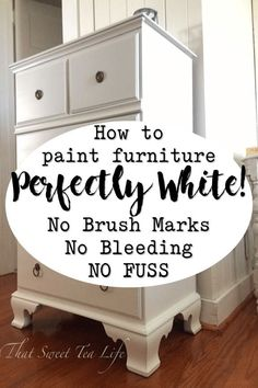 Painting White Furniture: The Best No Fail Method! Painting White Furniture: The Best No Fail Method! How to do it with no brush marks, bleeding, yellowing, or fuss! When beginning to paint furniture we soon get our first white furniture painting project. White Painted Furniture, Refurbished Furniture, Farmhouse Furniture, Repurposed Furniture, Bedrooms With White Furniture, Rustic Furniture, Outdoor Furniture, Dresser Repurposed, White Distressed Furniture