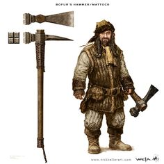 Bofur's Hammer/Mattock - The Hobbit, part I - A selection of concept design from the first installment of The Hobbit: An Unexpected Journey, Chronicles: Art and Design -  The Art of Nick Keller
