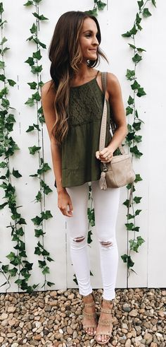 #summer #outfits And The Olive Obsession Continues This Top Is Under $40 + So Easy To Dress Up Or Down! Heading To Dinner With Michael And His Parents! So Happy To Have Them In Town! // Shop This Outfit In The Link