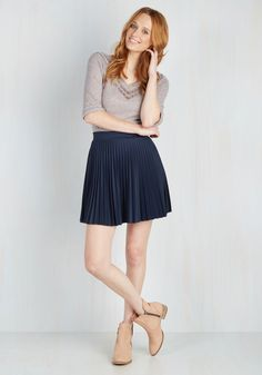 Accordion to You Skirt in Navy. You said it yourself - this accordion-pleated skirt has become an item you can't live without! #blue #modcloth