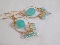 Aqua Marquise Chandeliers on Etsy, $85.00