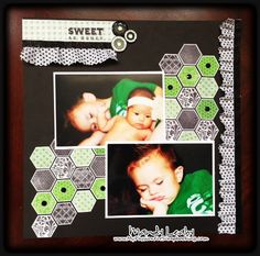 Sweet as Honey - Hexagon Scrapbook layout featuring the CTMH Honeycomb stamp set and new For Always Fabric Textiles. CLICK for details. #CTMH #Scrapbooking {Created by Mandy Leahy}