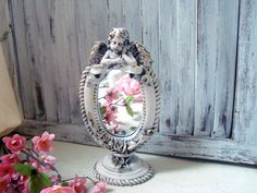 Pink Vintage Ornate Oval Vanity Mirror Angle by WillowsEndCottage