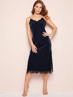84f7e40efc4e SheinShein Eyelash Lace Velvet Cami Dress Sleep Shirt, Dressy Dresses, Nice  Dresses, Nightgown