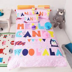 Wolala Home 100% Cotton Children's Duvet Cover Sets Alphabet Pink Candy Cute Girls Fairy Bedding Sets 2Pcs (Toddler:2pcs) //Price: $28.51 & FREE Shipping //     #bedding