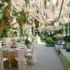 Absolutely in LOVE with these outdoor chandeliers 💖 What better way to create a perfect fairytale wedding ☄  #theweddingplannerinstitute #weddingplannercourse #outdoorwedding #weddingdecorideas #weddingreceptions #weddingplanner #weddings #fairytaleweddings #chandelier
