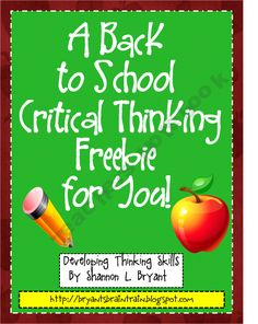Back to School Critical Thinking FREEBIE! product from Bryants-Brain-Train on TeachersNotebook.com