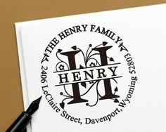 Round Calligraphy Custom Return Address Stamp, personlized stamp - Personalized SELF INKING Wedding Stationery Stamper 192
