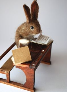Original Needle Felted School Bunny after Walter Potter