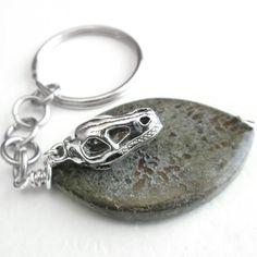 Dinosaur Bone Keychain, Guy Gift, Men's Key Chain, Brown Fossil Stone