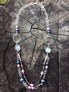Ceramic cristal & chain necklace