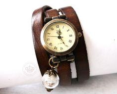 Echt Leder Armbanduhr * Echte Pusteblumen* braun von JanoschDesigns auf DaWanda.com