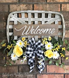 Spring Wreath, Tobacco Basket Arrangement, Welcome Sign Wreath, Spring Door Swag, Farmhouse D… - New Deko Sites Spring Decoration, Spring Home Decor, Basket Decoration, Fall Decor, Diy Home Decor, Tobacco Basket Decor, Spring Door, Front Door Decor, Front Doors