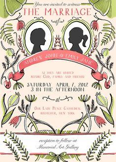 Custom Silhouette Wedding Invite..