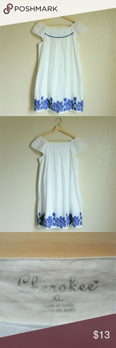 "🌼Embroidered Off-Shoulder White Dress🌼 Off-shoulder white dress with blue embroidery. Loose fitting. Can be worn on shoulder and off. Material - shell: 100% cotton, lining: 100% cotton, embroidery: 100% polyester. Shoulder to hemline length: 34"". Size XL for children but can fit as XS/S for women.  Minor makeup stains that are barely noticeable on dress and small smudge of makeup on interior of dress. Only worn 3-4 times. Comes from a smoke free home. Cherokee Dresses Casual"