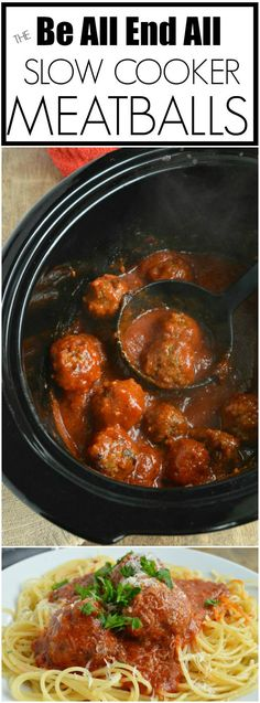 The Be All End All Slow Cooker Meatball Recipe!!! This crock pot meatball recipe is super simple and turns out perfect meatballs with barely any work.