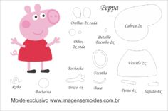 Molde Peppa Pig - Peppa - Molde para Feltro - EVA e Artesanato, Molde Peppa Pig - Peppa - Molde para EVA - Feltro e Artesanato Molde Peppa Pig, Peppa Pig Doll, Bolo Da Peppa Pig, Cross Stich Patterns Free, Baby Diy Projects, Diy Cake Topper, George Pig, Diy Gifts For Kids, Pig Party